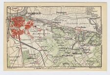 1910 ANTIQUE CITY MAP OF VICINITY OF NIJMEGEN / HOLLAND NETHERLANDS