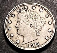 1911 Liberty V Nickel 5c High Grade XF 1911/1911 RPD-01 Mint Error Type Coin