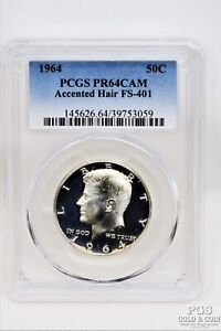 1964 Kennedy Half Dollar 50c Accented Hair PCGS PR64Cam Silver Proof Coin 21307