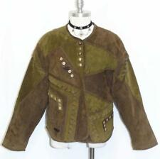LEATHER JACKET Over Coat Women German SOFT & UNIQUE Hunting Riding BROWN GREEN M