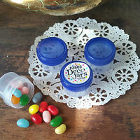 12 Clear Plastic Jars BLUE screw Lid Cap 1/2oz 1Tbl Makeup DecoJars 3803 USA New
