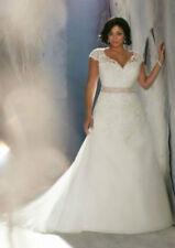A-Line Plus Size White/Ivory Bridal Gown Lace Wedding Dress Stock Size:14W---26W