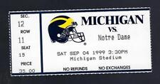 1999 NCAA NOTRE DAME FIGHTING IRISH @ MICHIGAN WOLVERINES FOOTBALL TICKET STUB