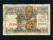 Comoros/Comores:P-5b,500 Francs,1963 * French Rule * RARE *