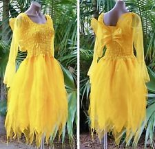 PLUS SIZE Fairy Dress Costume with Sleeves & Wings--Gold & Lemon Summer Harvest