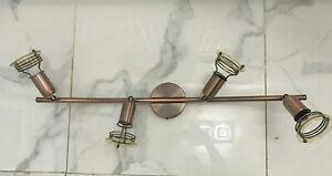 4 Heads Curved Tube Spotlight Antique Vintage Copper E14 or SES - LED Bulbs