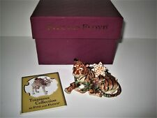 Fitz and Floyd Tiger Jungle & Lily Flower Ceramic Hinged Trinket Box & Org. Box