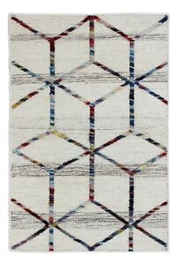 Handwoven Wool Rug 65X90 CM Handmade Geometric Welcome Doormat New Yoga Mat