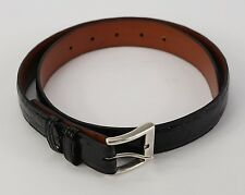 Rare ZELLI Genuine Crocodile Exotic Black Leather Silver Buckle Belt 30 32 34
