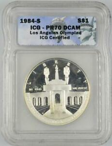 1984-S $1 Los Angeles Olympiad .900 Silver Commemorative ICG PR70DCAM Coin