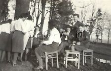 WWII German RP- Uniformed Youth- RAD- BDM Frau- Outdoors- Chairs- Patch- Friends