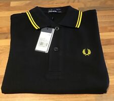 Fred Perry : Kids Twin Tipped Polo Shirt ( 5-6yrs Height 116cm)Black/yellow