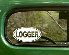 2 LOGGER DECALs Logging Oval Sticker For Bumper Car Window Truck Rv Jeep Laptop