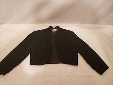 Vintage Ladies Black Velvet Evening Crop Jacket, 3/4 Sleeve,Alice of Cali,Size S