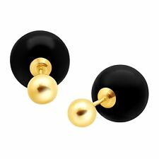 10 Mm Natural Onyx Front-back Earrings in 14k Gold