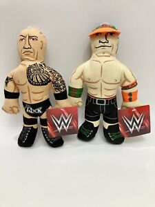 The Rock and John Cena canvas squeaker dog toys Petmate