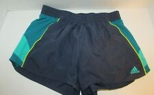 women's M Adidas Blue running athletic Shorts Medium green mesh sides