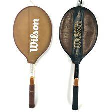 Vtg Wilson 2pack Advantage 4 5/8 & Lady Advantage 4 1/2 Grip Wood Racket leather