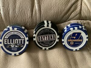 9 2021 DAYTONA 500 CHASE ELLIOT POKER CHIPS!!!! MAKE OFFER!!! LOTS TO GO!!!!