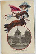 1910 era  Gibson Girl Pennant card Decorah High School Decorah Iowa  postcard