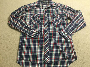 Wrangler Men's Pearl Snap Long Sleeve Shirt Size Medium Checked Western Cowboy