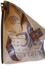 Recycled Canvas Fleur Tote Reclaimed Messenger Shoulder Bag Leather Cross Body