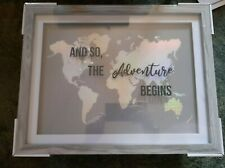 Framed Holographic Picture of World 'And So The Adventure Begins' Home Decor New