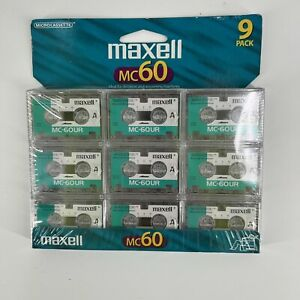 Maxell MC60 UR Microcassettes Pack of 9 New Blank Media Mini Cassette Tapes