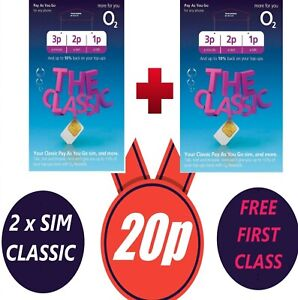 2 O2 Sim Card - New and Sealed Only 20p Classic O2 Pay As You Go 02 O2