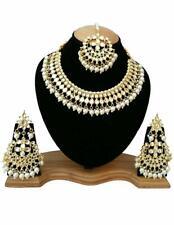 Indian Pakistan Bollywood Choker Kundan Necklace Earrings Mang Tika Gold Plated