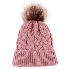 Women Kids Baby Child Warm Winter Knit Beanie Fur Pom Bobble Hat Crochet Ski Cap