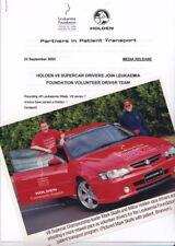 2002 HOLDEN V8 SUPERCARS SKAIFE LEUKAEMIA VOLUNTEER Press News Release & Pic