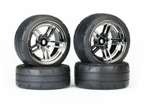 Traxxas 8375 Tires / wheels assembled glued split-spoke black chrome 4-Tec
