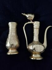 Vintage Brass Vases Engraved Leaves and Flowers 4 Inches Tall MADE IN  India