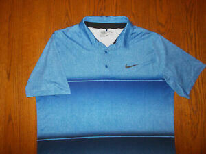 NIKE GOLF SHORT SLEEVE BLUE OMBRE STRIPED POLO SHIRT MENS LARGE EXCELLENT COND.