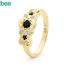 Bee Jewellery 21961/s (b39) 9yg Antique LOOK Sapphire & Dia Ring Size P
