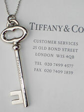 Tiffany & Co Silver Large 2 Inch Vintage Oval Key on 30 Inch Bead Chain Necklace
