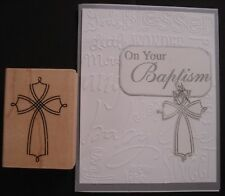 Stampin Up rubber stamp  DOUBLE LINED ELEGANT CROSS sympathy baptism confirmatio