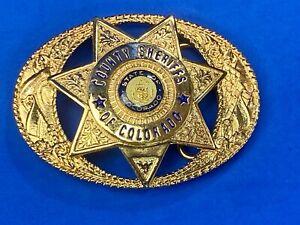 Vtg. 1989 County Sheriffs of Colorado Police Star Badge belt buckle by TL&B