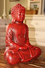 RED BUDDHA STATUE GARDEN YARD ART ORIENTAL ANTIQUE Buddhism NEW GIFT SHIPS FREE