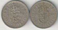 2 OLDER 1 SHILLING COINS from GREAT BRITAIN - 2 TYPES (BOTH DATING 1956)