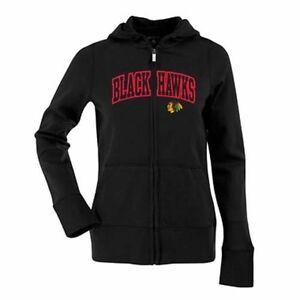 NEW Antigua Women's Chicago Blackhawks Hood Applique Full-Zip Sweatshirt - L