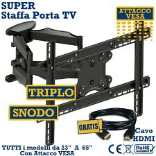 "SUPER STAFFA PORTA TV DA MURO  DA 32""42""46""50""55""60""65"" POLLICI SUPPORTO PARETE"