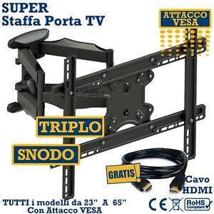 """SUPER STAFFA PORTA TV DA MURO  DA 32""""42""""46""""50""""55""""60""""65"""" POLLICI SUPPORTO PARETE"""
