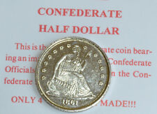 American Civil War Replica Confederate Half Dollar Coin Set On Information Card
