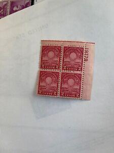 #655  PLATE BLOCK 4, MINT / NH-OG /  FINE-V.F CENTERING ,C.V $50.00