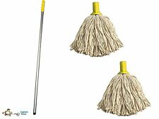 More details for professional colour coded mop handle and 2 mop heads - colour yellow