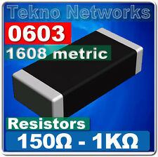 0603 1608 Metric Smd Smt Resistors 100pcs Range 150 1k Ohm
