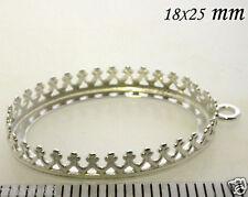 2pcs Quality Cast 25x18mm Bezel Cup Shiny Sterling Silver 925 (8394SH)