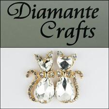 3D Cats Gold Alloy Encrusted Clear Diamantes Decoden Kawaii Cabochon - 3CT2013
